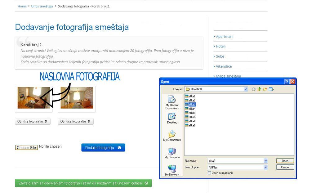 Zlatibor smeštaj  - postavljanje oglasa -  slika 2.